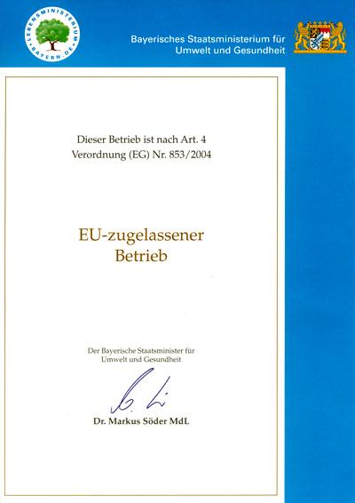 EU-Zulassung Pferdemetzgerei Veit